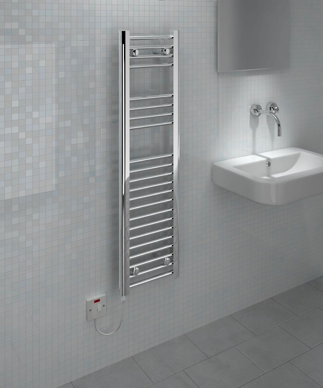 Kudox Slim Electric Towel Rail Chrome 150W 300 x 1100mm