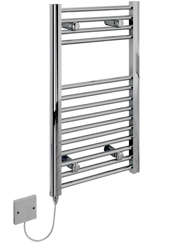 Small Electric Towel Rail Chrome 400mm x 700mm Flat 5060069429285