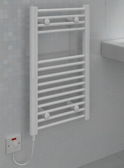Kudox Small Electric Towel Rail 400mm x 700mm Flat White 5060235345272