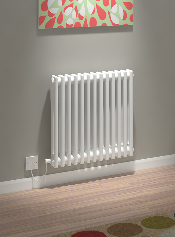 5060235346194 Kudox Electric Radiator Evora 2 Column 600mm x 628mm White IS