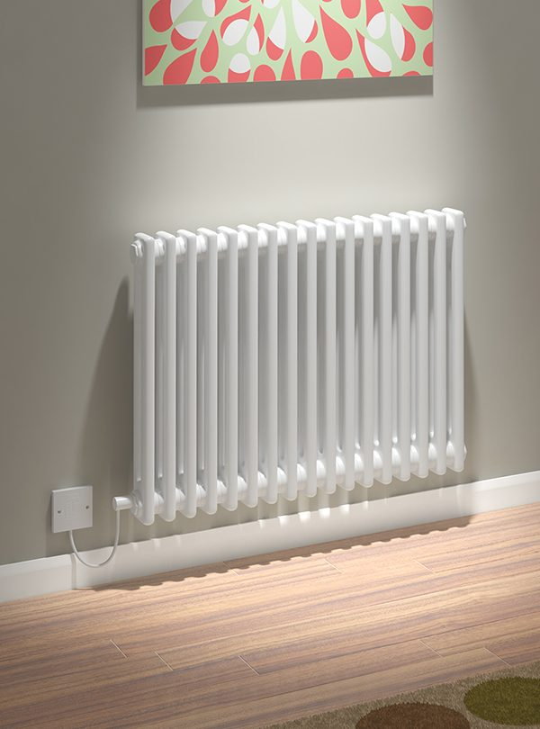 5060235346200 Kudox Electric Radiator Evora 2 Column 600mm x 812mm White IS